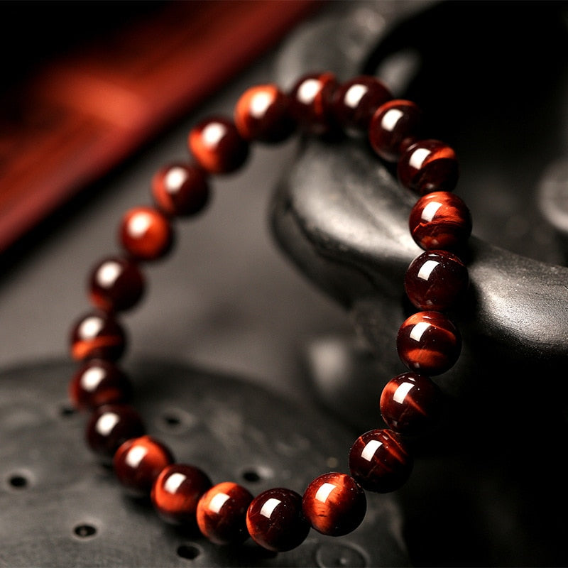 Minimalist 8MM Natural Stone Prayer Beads Tiger Eye Bracelet Handmade Red Brown Natural Stone Braclet For Men Yoga Jewelry Homme