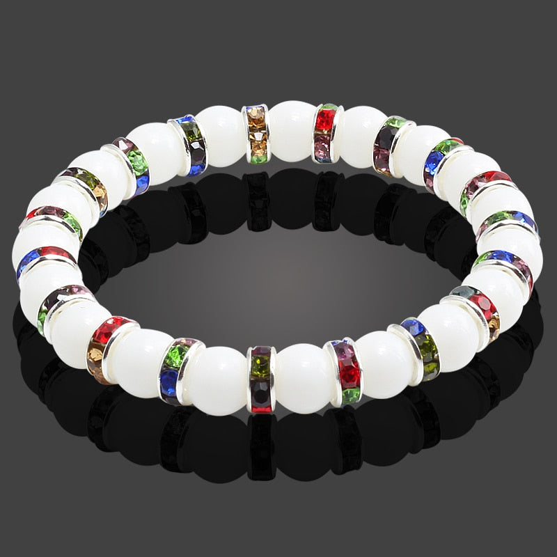 Multicolor Chakra Bracelet Silver Crystal White Natural Stone Beaded Distance Women Men Bracelets Bangles Yoga Jewelry pulseira