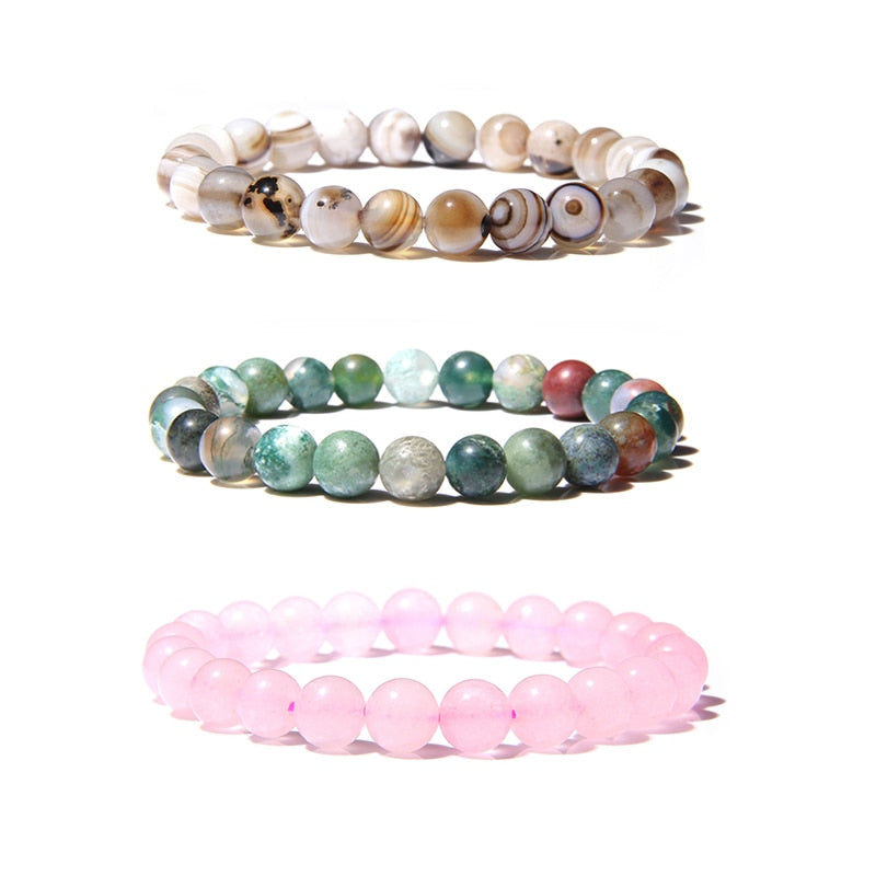 Natural Stone Beads Bracelet For Women Men Beads Lava Agates Quartz Chakra Yoga Bracelets For Women Jewelry Gifts