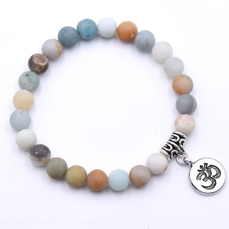 Natural Stone Strand Bracelet Yoga Chakra Mala Bracelet OM Lotus Women Men Beaded Charm Bracelet Jewelry