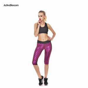 Miranda Mermaid Scale Capri Graphic Leggings Pink / L Active