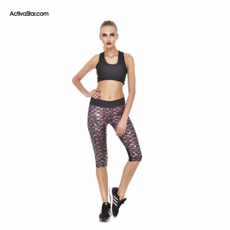 Miranda Mermaid Scale Capri Graphic Leggings Multi / L Active