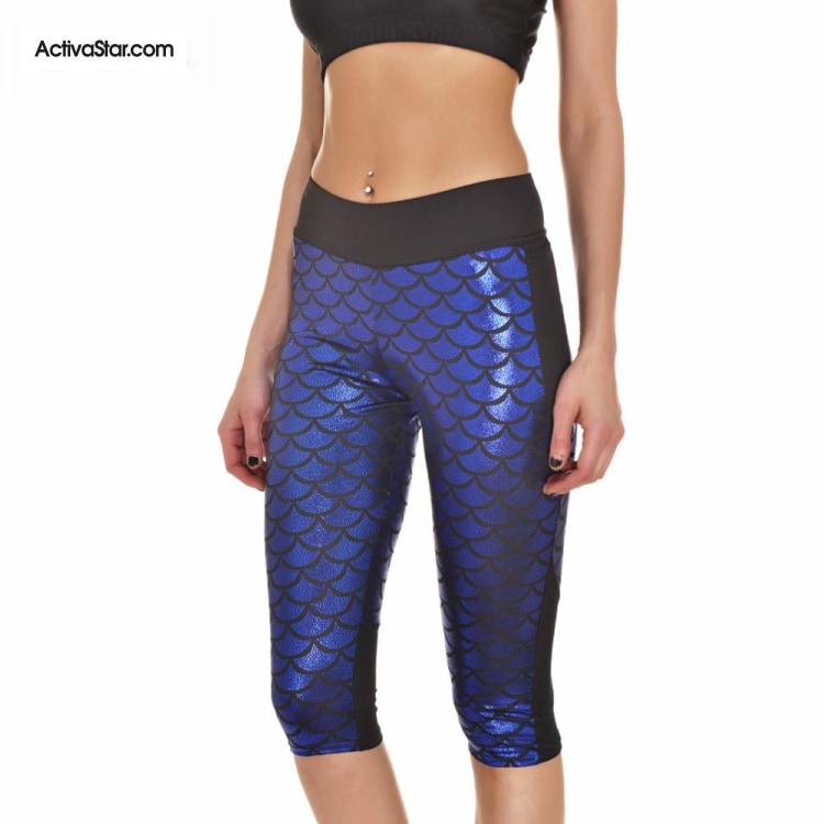 Miranda Mermaid Scale Capri Graphic Leggings Active