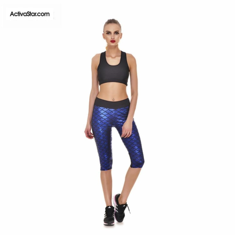 Miranda Mermaid Scale Capri Graphic Leggings Blue / L Active