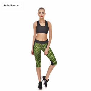 Miranda Mermaid Scale Capri Graphic Leggings Yellow Green / L Active