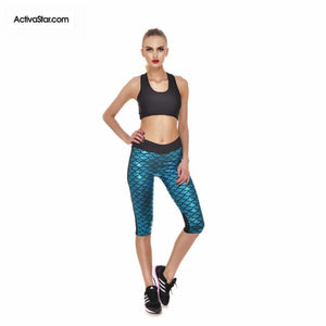 Miranda Mermaid Scale Capri Graphic Leggings Turquoise Blue / L Active