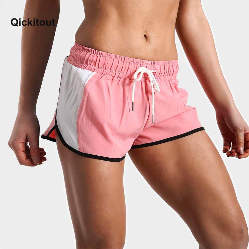 Pink & White Solid Color Fitness Print Shorts