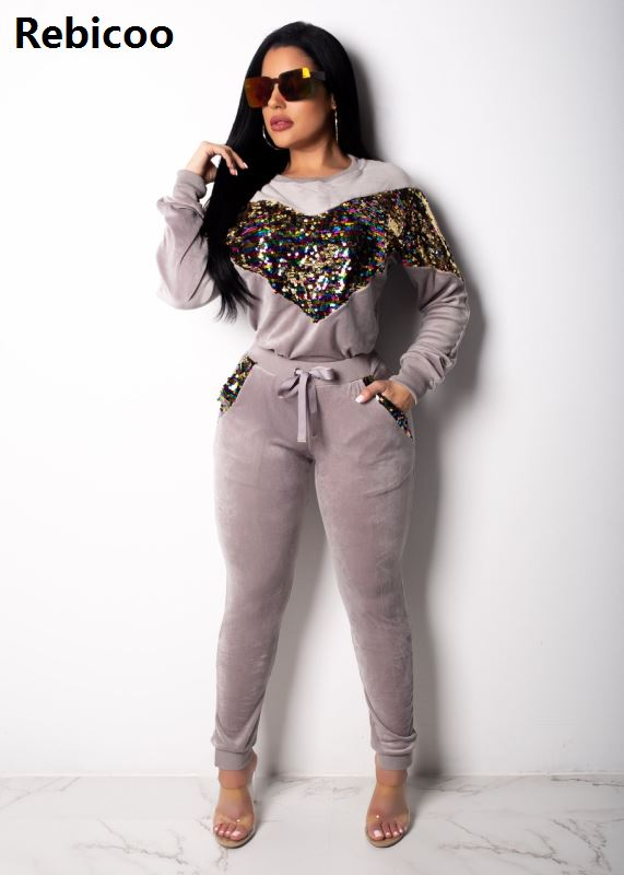 Sequin Velvet Tracksuits Women Set