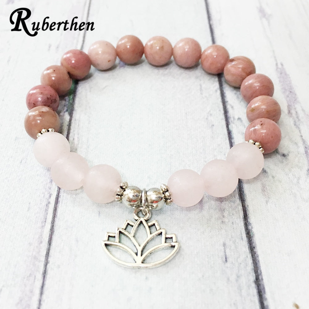 Girl`s Bracelet 8 mm Rhodonite Matte Rose Quartz Bracelet Lotus Chram Yoga Balance Jewelry
