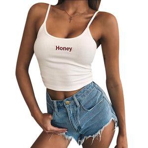 HONEY Spaghetti Straps Crop Top