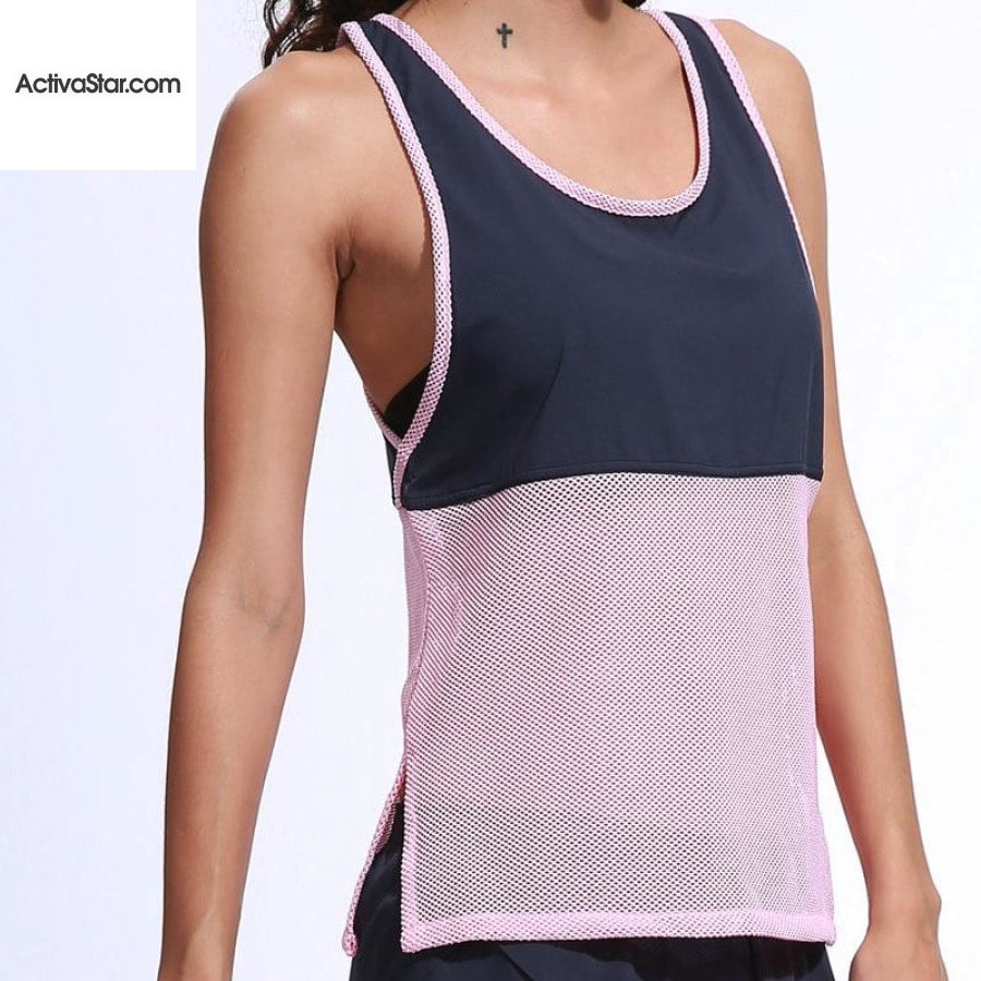 Alalahe Chiffon Patchwork Hollow Breathable Fitness Tank Top Tops
