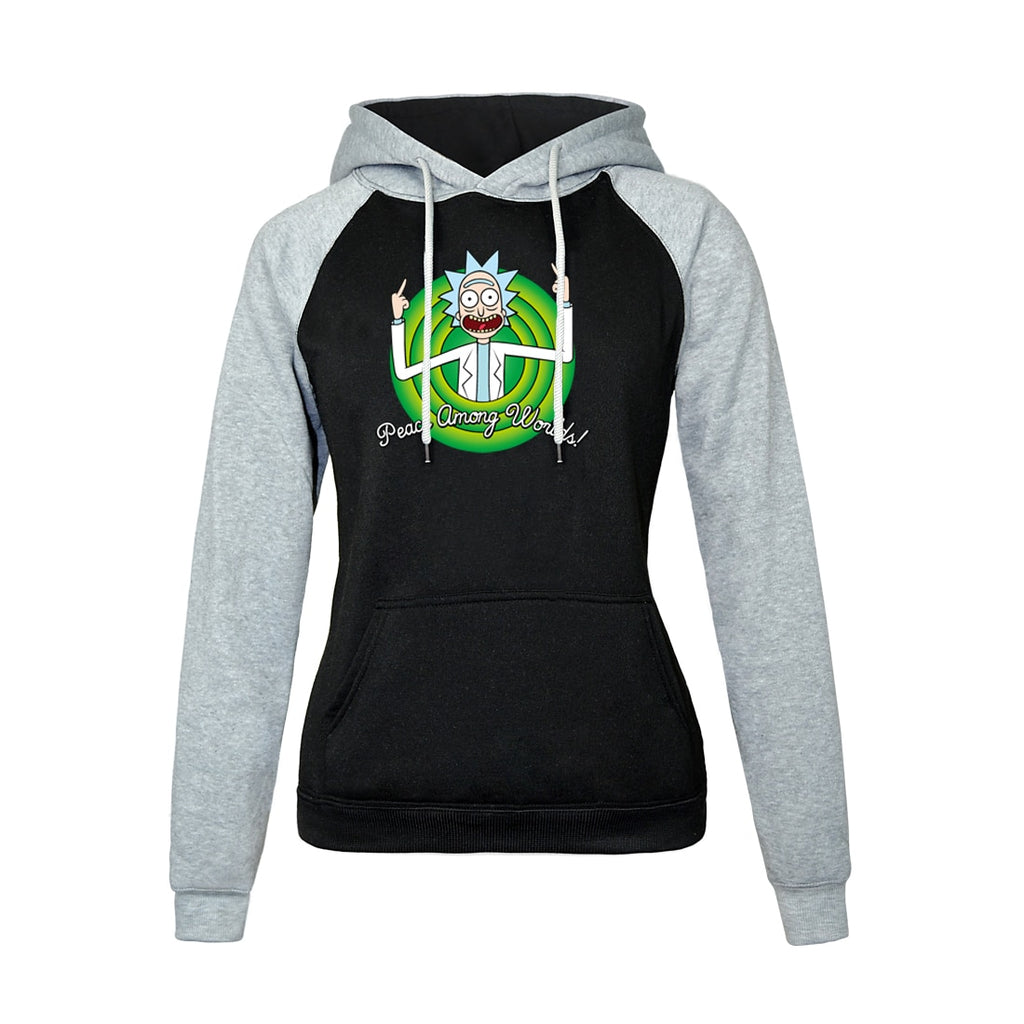 RICK AND MORTY Print PEACE AMONG WORLDS Raglan Hoodie