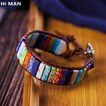 Trendy Handmade Leather Multicolor Natural Stone Tube Beads 7 Chakra Bracelet Women Yoga Jewelry Wrap Bracelets Creative Gift