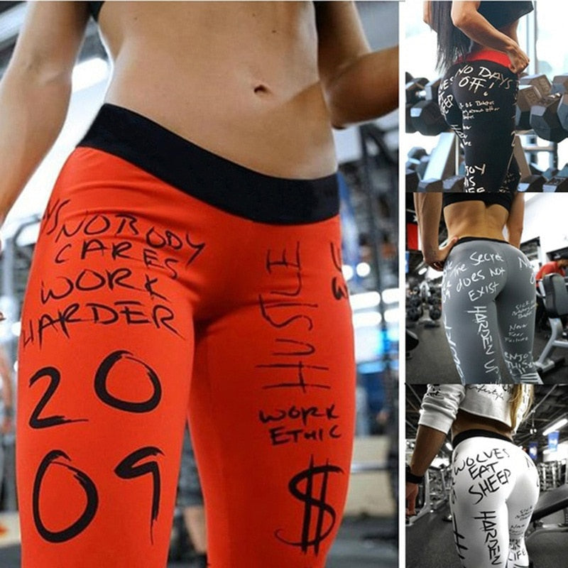 Letter Print  Fitness Yoga Leggings