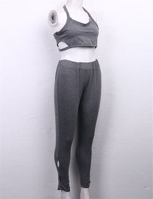 Crop Top Sweatshirt Running Sports Set