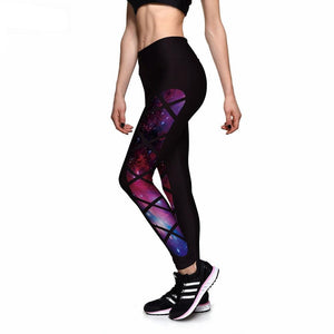Black Grid Star Galaxy High waist Elastic Leggings - S-4XL - Activa Star