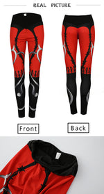 Heart Print Red Black Patchwork Fitness Leggings - Activa Star