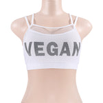 Fake Two Pieces Mesh VEGAN Printed Spaghetti Strap Sports Bra - Activa Star