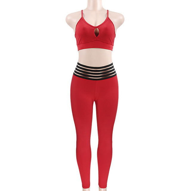 Ant Hollow Out Sling Top And Leggings 2 Pieces Set Red - Activa Star