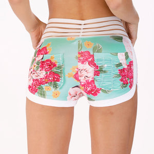 Journee Floral Yoga Sports Shorts - Activa Star