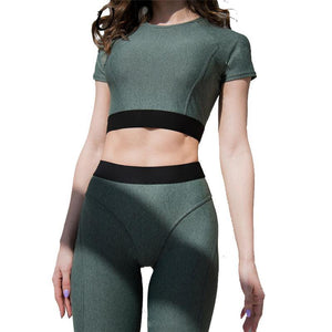 High Waist Casual Fitness Crop Top + Leggings Set - Activa Star