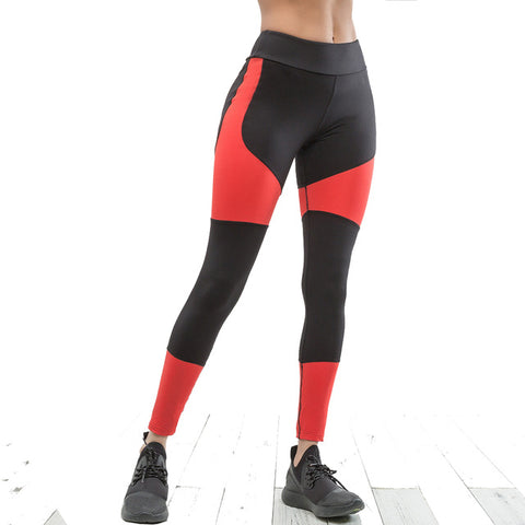 Black and Red Patchwork Leggings - Activa Star