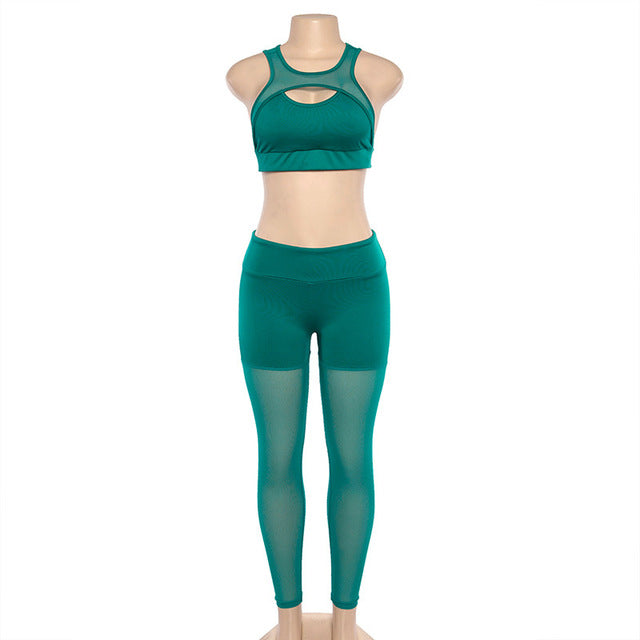Clay Mesh Patchwork Fitness Leggings Set - Activa Star