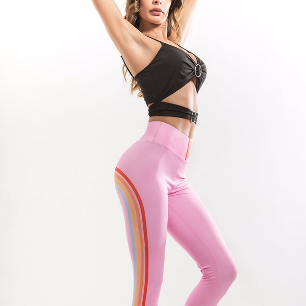 Vere Rainbow Stripes Print Fitness Leggings Pink - Activa Star