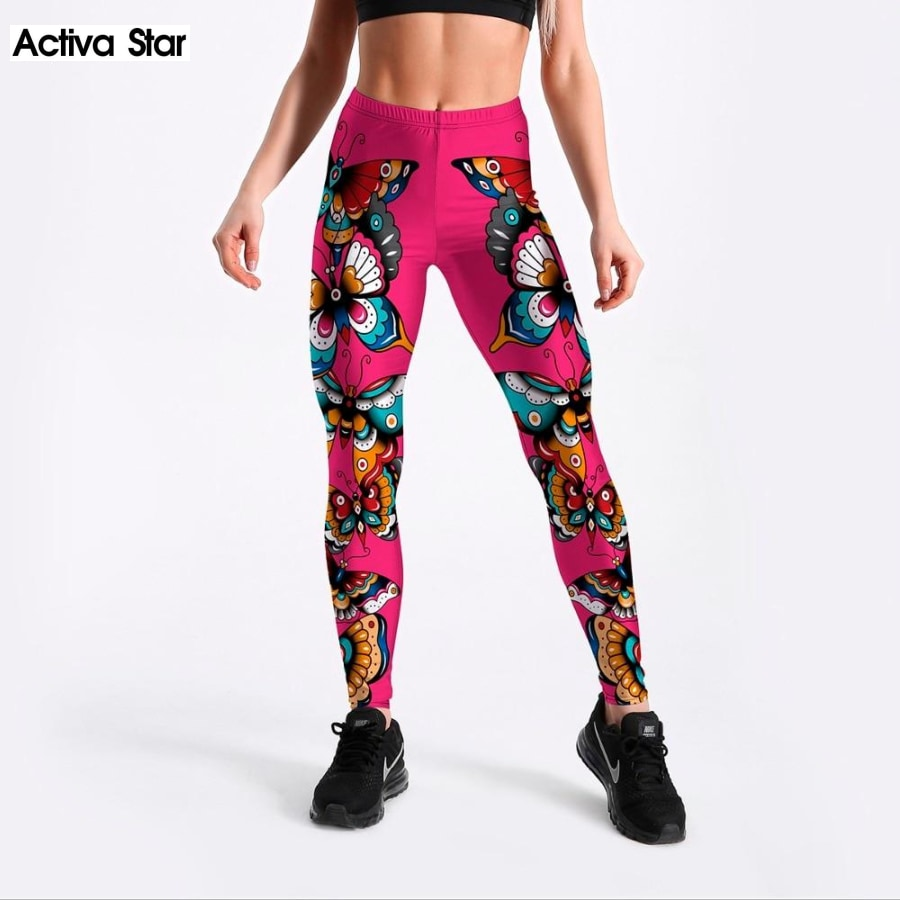 Two Side Butterflies Printed Rose-Red Color Leggings - Activa Star