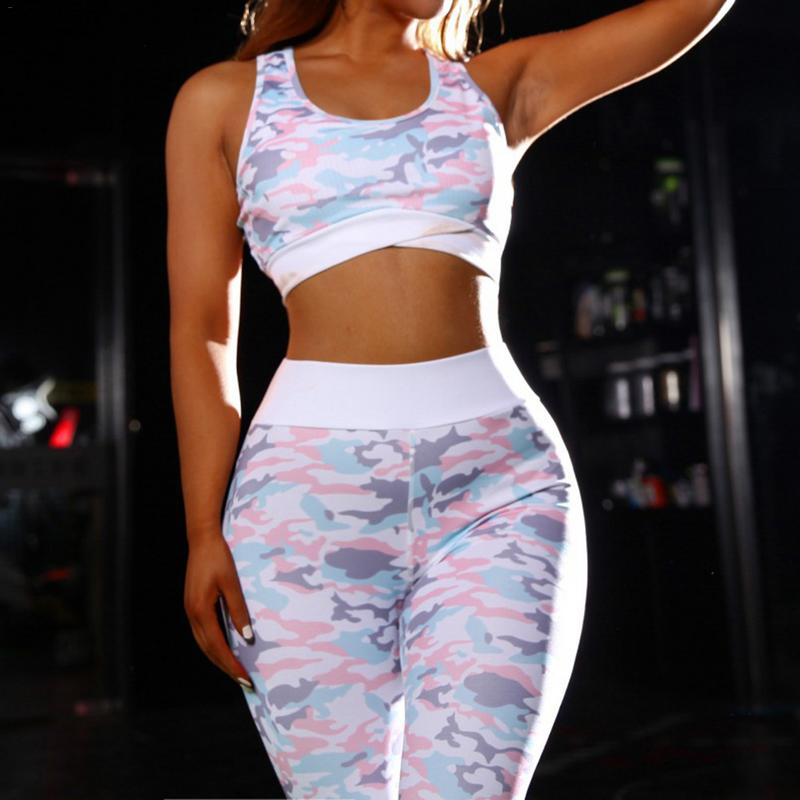 Camouflage Women Yoga Fitness Leggings Set