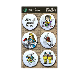 Set #2 Alice in Wonderland Set of Six Magnets