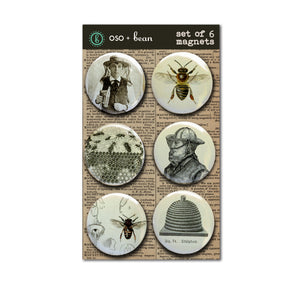 "Bee and Beekeeping Magnet Set of Six 1"" Magnets."