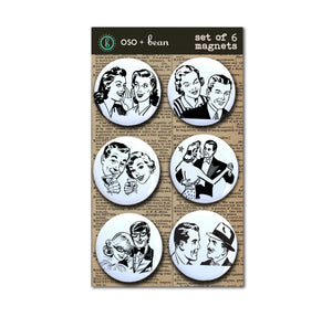 "Retro Couples Magnets, 1"" Magnet Set"