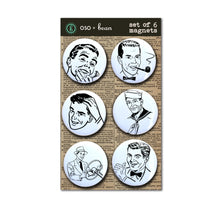 Set of Six Vintage Retro Men Magnets