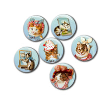 "Vintage Kitties Cats Set of Six 1"" Magnets."