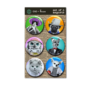 Funny Animals 1 inch Magnets Set
