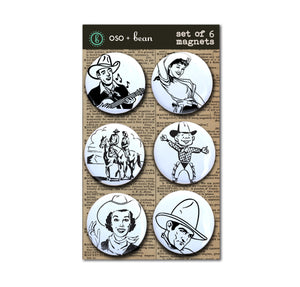 "Cowgirls and Cowboys, Collectible Rodeo Magnets 1"" Magnet Set"