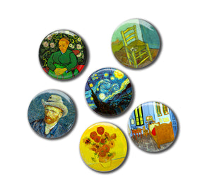 "Six Van Gogh Paintings, 1"" Magnets Set"