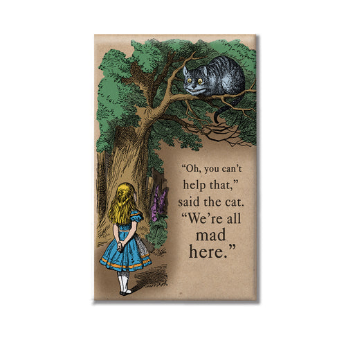 Cheshire Cat We're Mad Here Large Magnet or Pocket Mirror