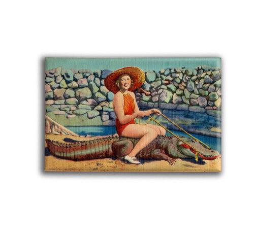 Florida Woman Riding Alligator Fridge Magnet or Travel Mirror