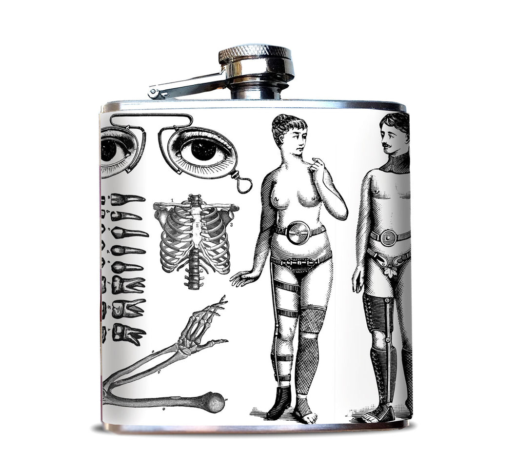 Weird Medical Illustrations Hip Flask