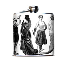 Victorian Women Illustrations Hip Flask