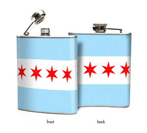 City of Chicago Flag Hip Flask