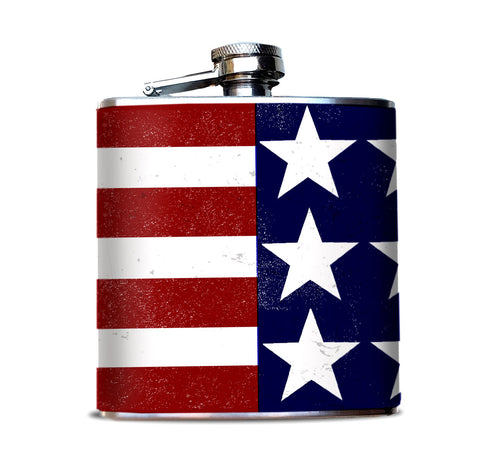 USA Flag Hip Flask, 6 oz Alcohol Flask