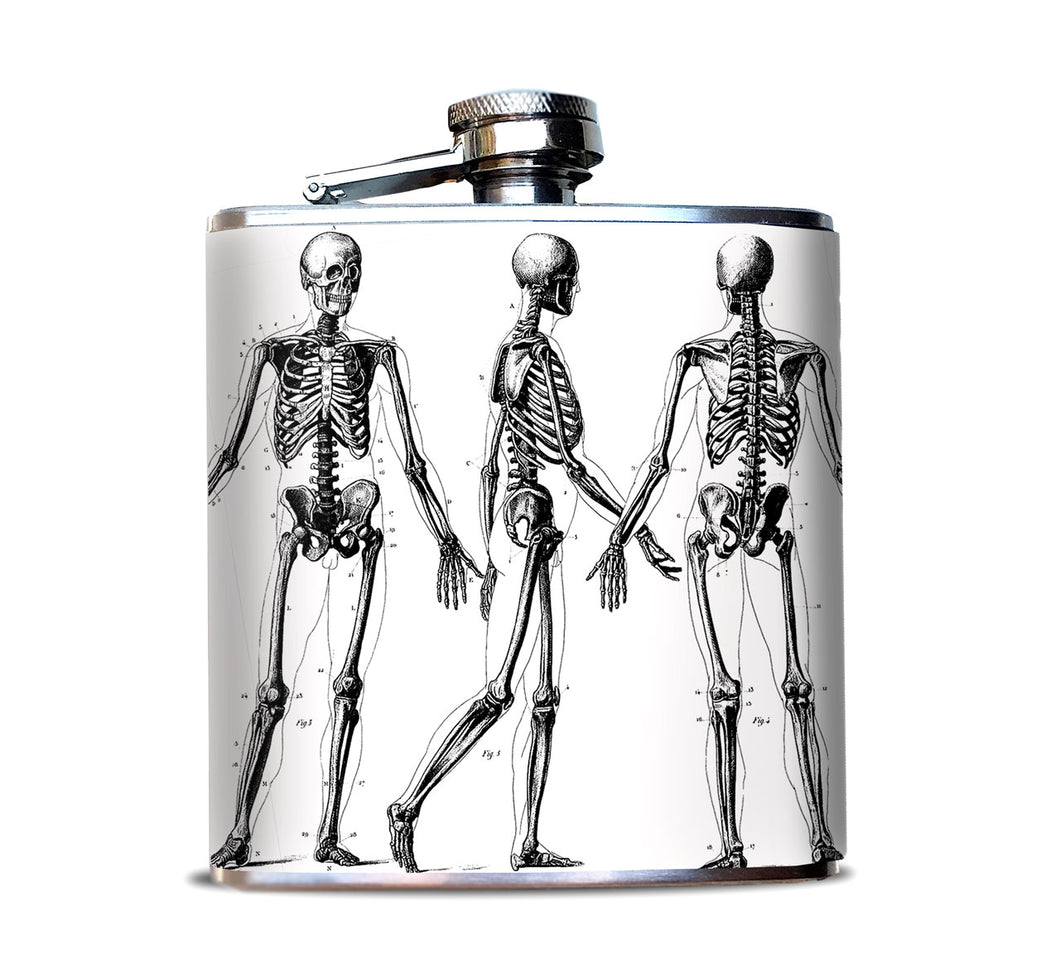 Vintage Skeleton Illustrations Hip Flask
