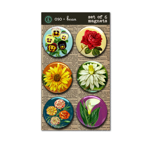 Set of Six 1 inch Flower Botanical Print Magnets
