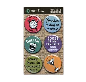 "Happy Hour, Retro Magnet Set, Six 1"" Magnets"