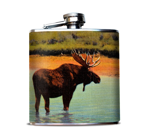 Moose Postcard Hip Flask