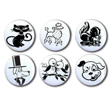 "Six Vintage Black and White Animal 1"" Magnets Set"