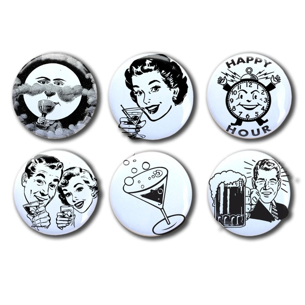 Retro Cocktail Hour Collectible Magnet Set